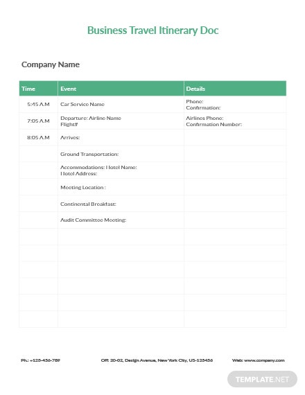 Free Business Travel Itinerary Document Template