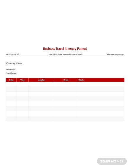 free business travel itinerary format template download 13
