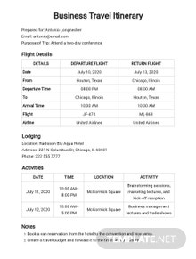 Free Business Travel Itinerary Format Template