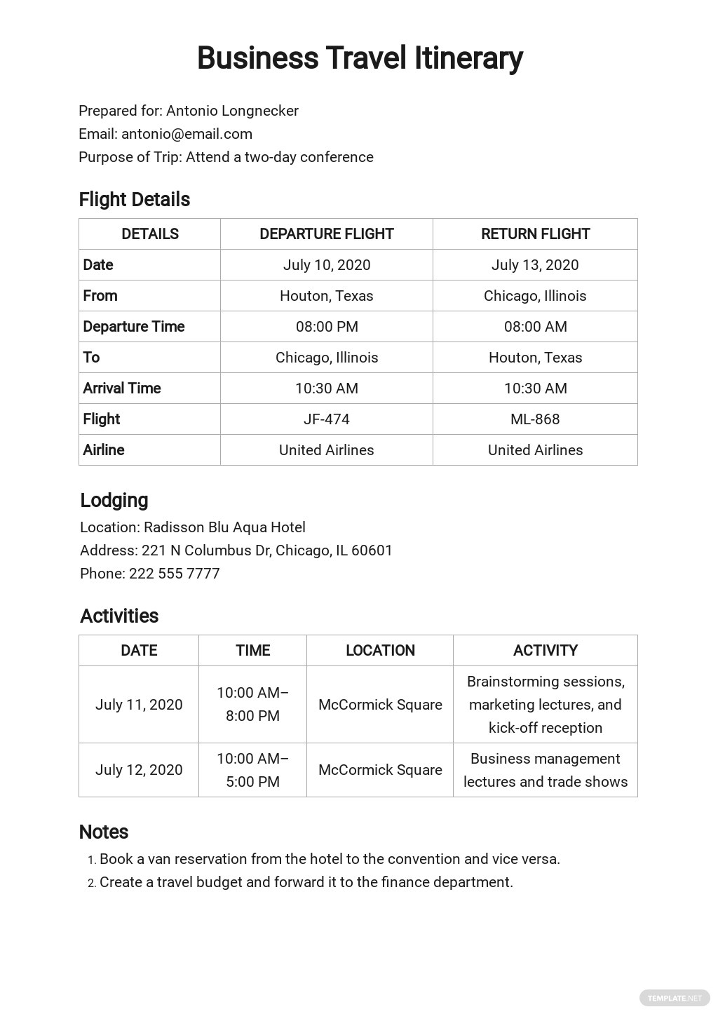 Business Travel Itinerary Format Template