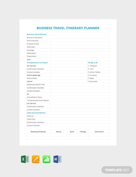 Free Business Travel Itinerary Planner Template