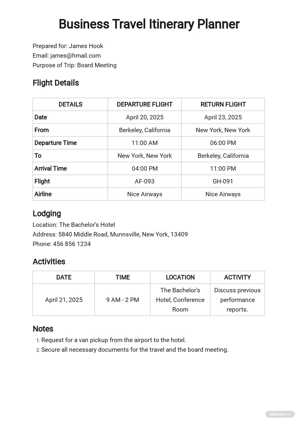 Business Travel Itinerary Planner Template
