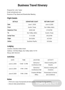 Free Business Travel Itinerary with Meeting Schedule Template