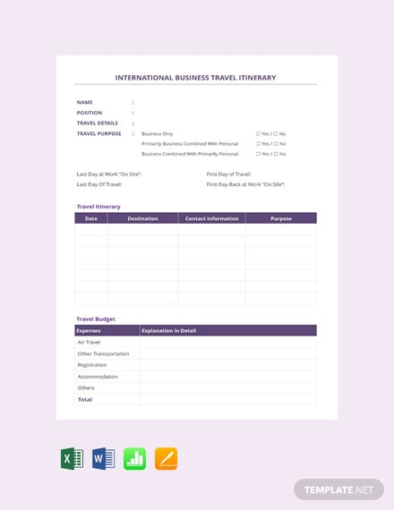 Free International Business Travel Itinerary Template