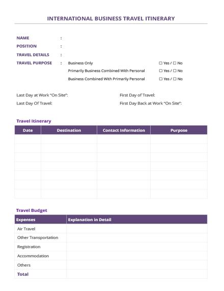 Free International Business Travel Itinerary Template