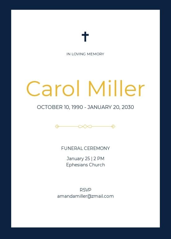 Simple Funeral Invitation Card Template.jpe