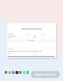 Free Blank Contractor Estimate Sheet Template