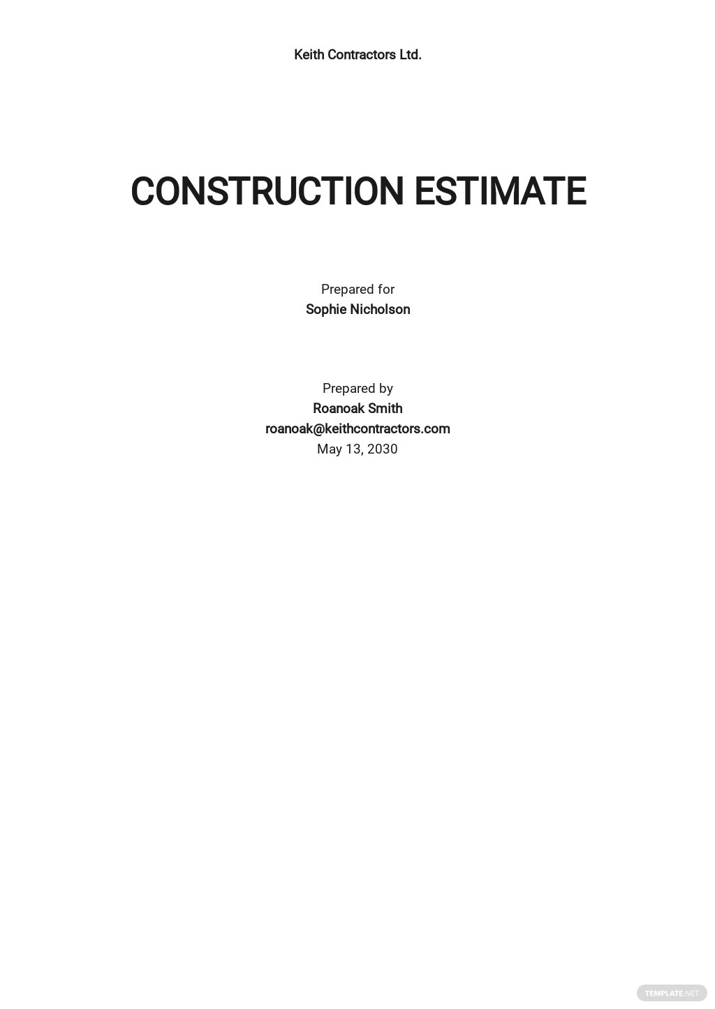 Blank Contractor Estimate Sheet Template