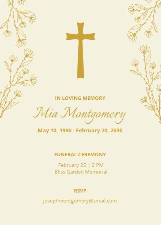 Free Sample Funeral Ceremony Invitation Template.jpe