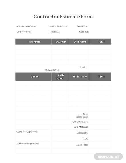 Free Contractor Estimate Form Template