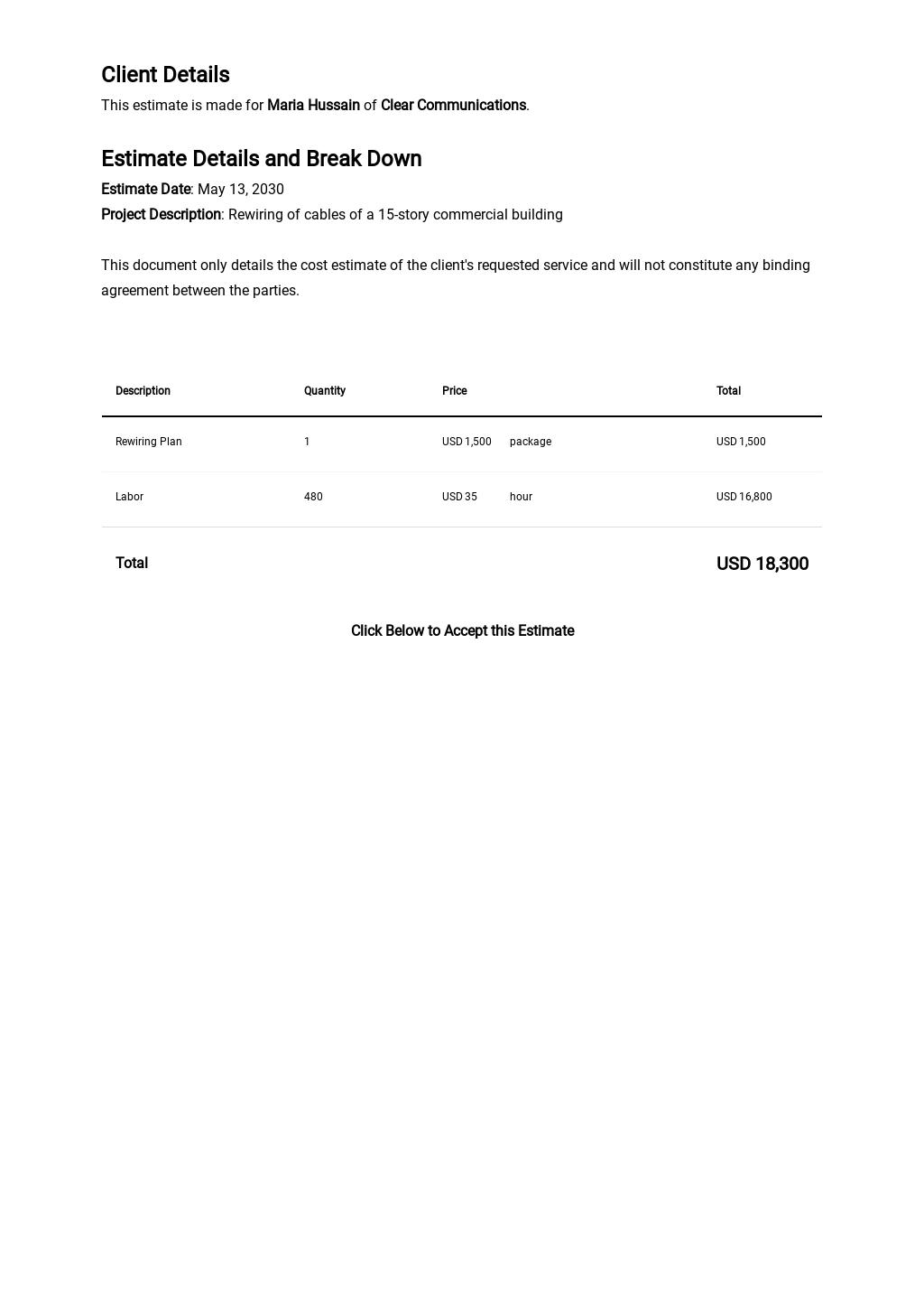 Free Electrical Contractor Estimate Template 1.jpe