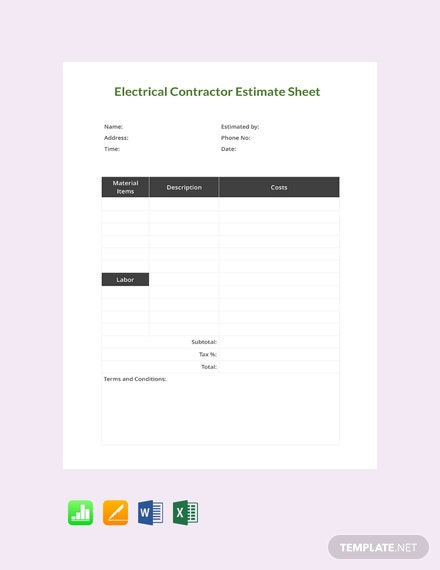 Free Electrical Contractor Estimate Template