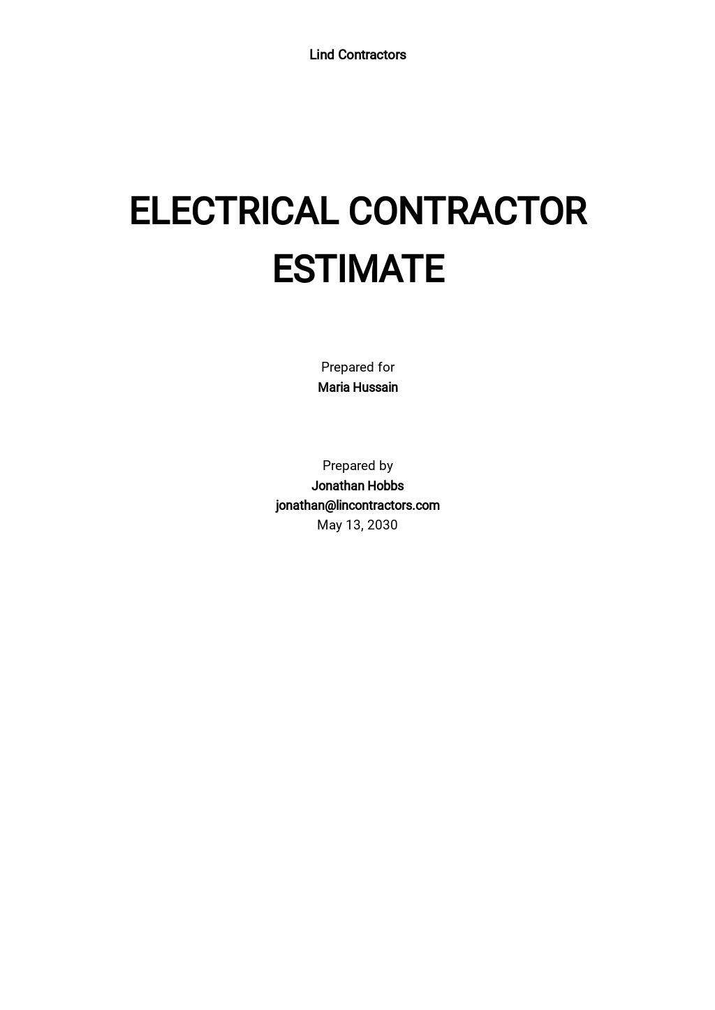Electrical Contractor Estimate Template