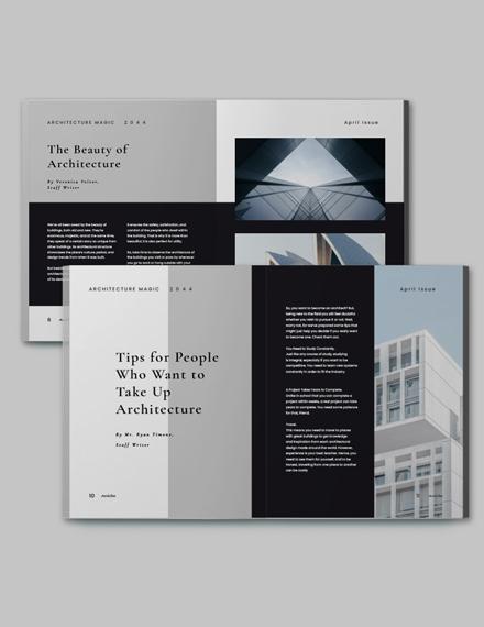 Minimalist Architecture Magazine Template Format