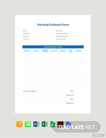 Free Painting Estimate Form Template