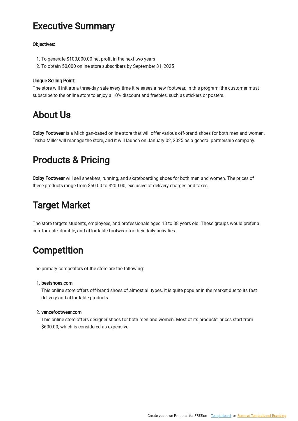 Online Shoe Store Business Plan Template 1.jpe