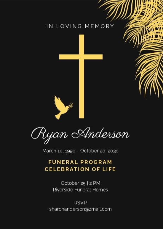 Simple Funeral Program Invitation Template.jpe