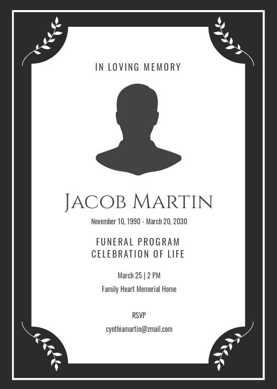 Modern Funeral Program Invitation Template.jpe
