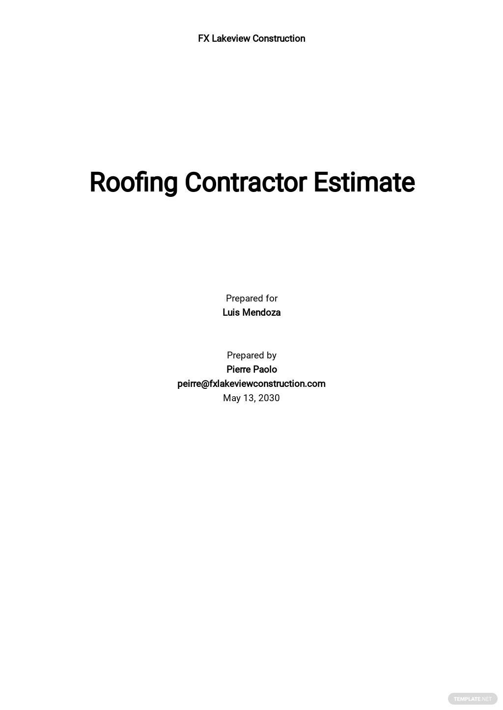 Roofing Contractor Estimate Template