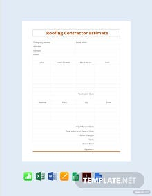 Free Roofing Contractor Estimate Template
