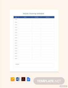 Hourly Cleaning Schedule Template