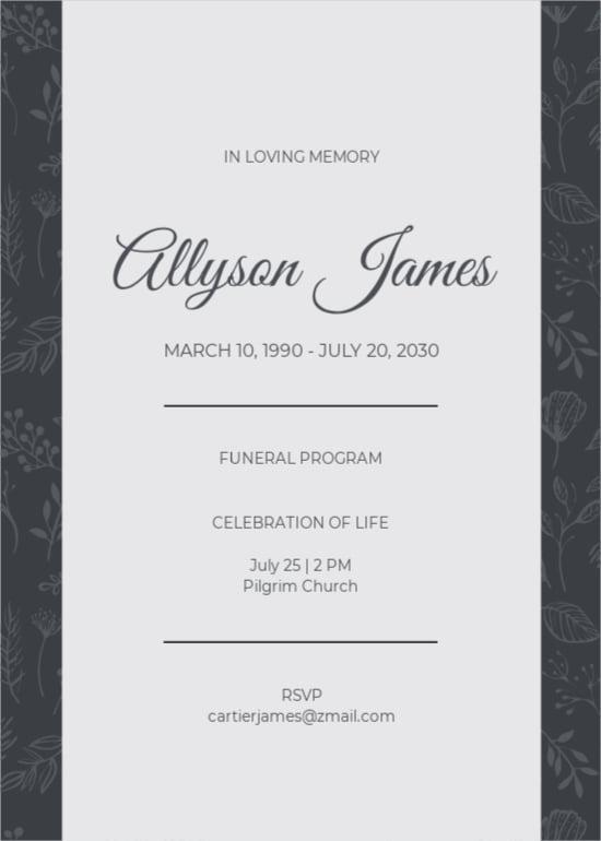 Funeral Ceremony Program Invitation Template.jpe