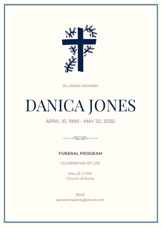 Funeral Church Program Invitation Template.jpe