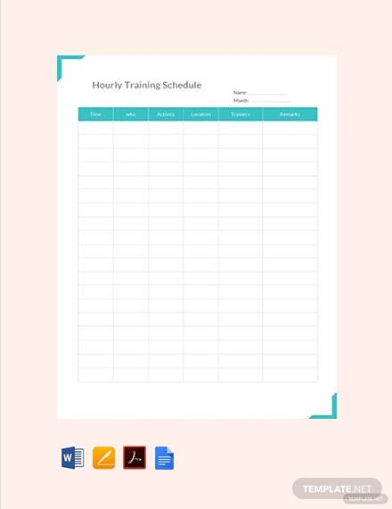 Free Hourly Training Schedule Template