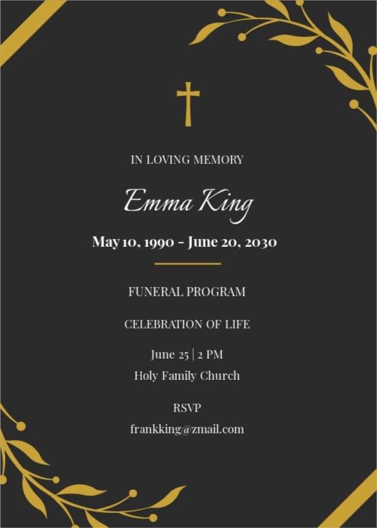 Funeral Program Catholic Invitation Template.jpe