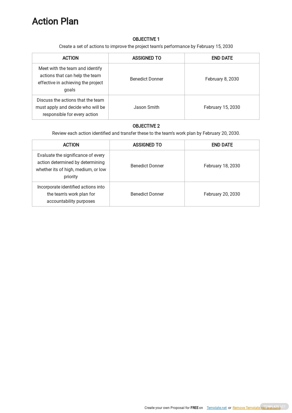 Free Project Team Action Plan Template 2.jpe