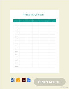 Printable Hourly Schedule Template
