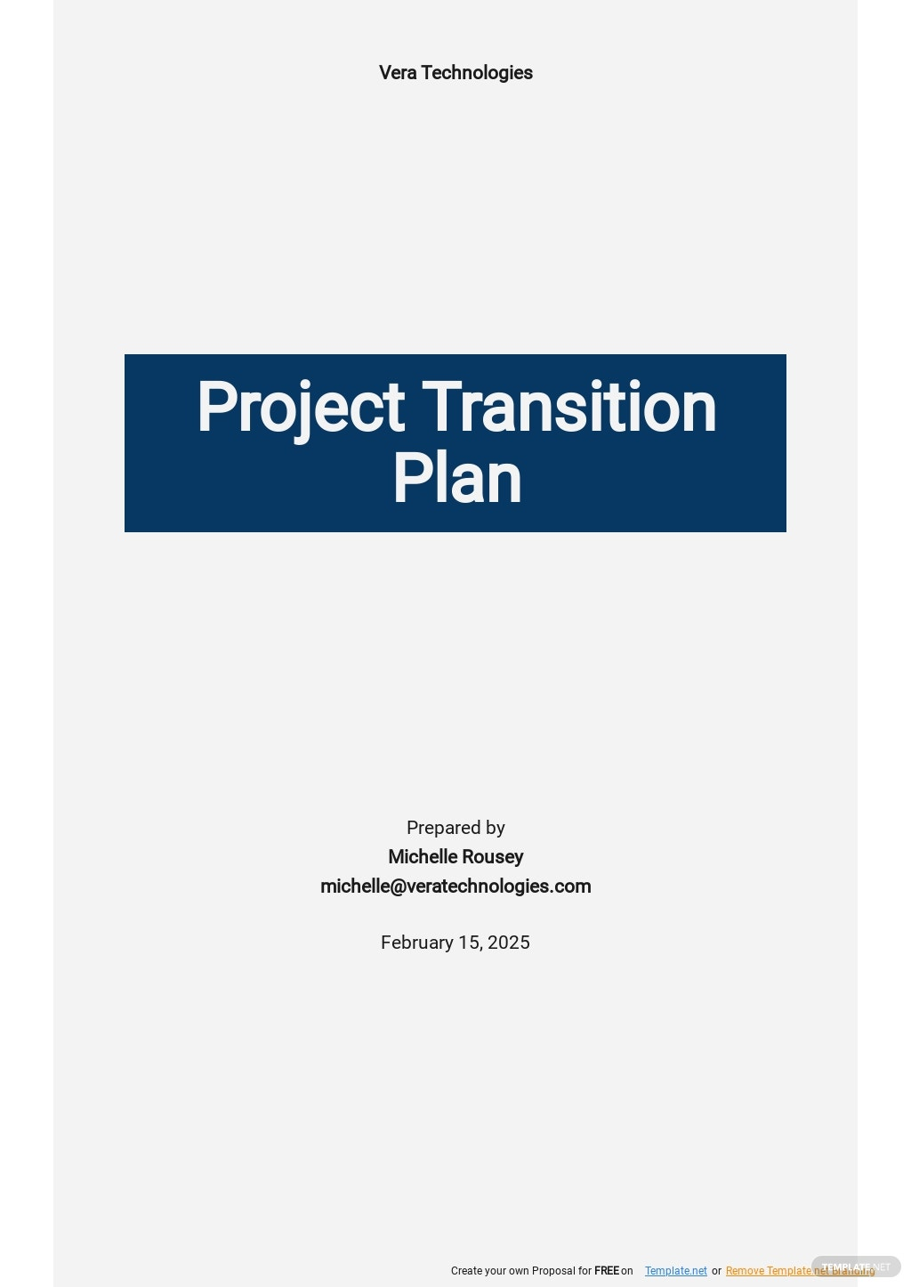 Project Transition Action Plan Template [Free PDF]