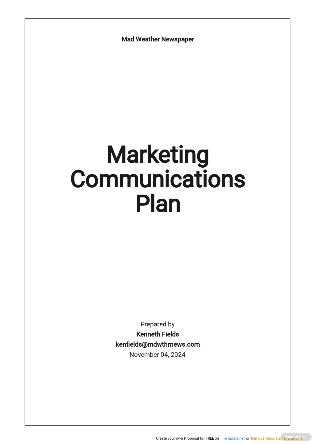 Simple Marketing Communications Plan Template.jpe