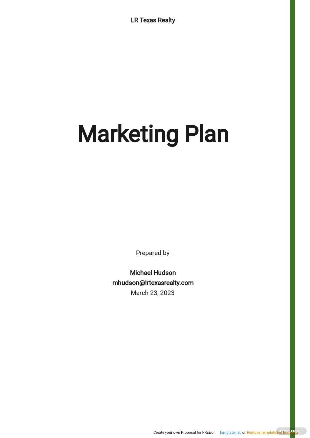 Free Simple One Page Marketing Plan Template.jpe