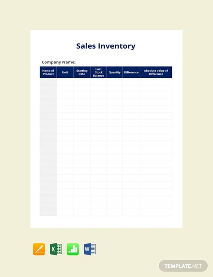 Free Sales Inventory Template