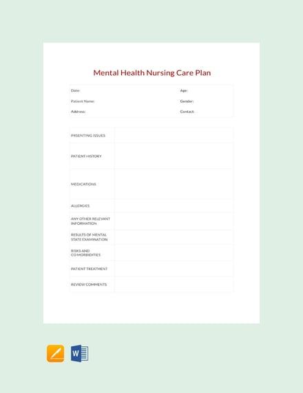 Free Mental Health Nursing Care Plan Template