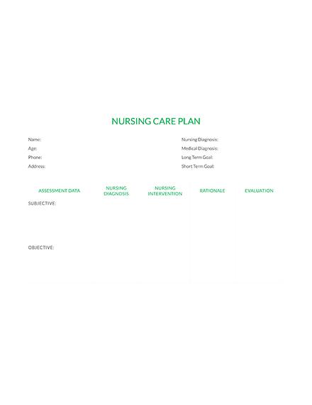 Nursing Care Plan Example Template