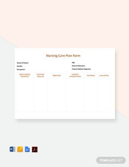 Free Nursing Care Plan Form Template