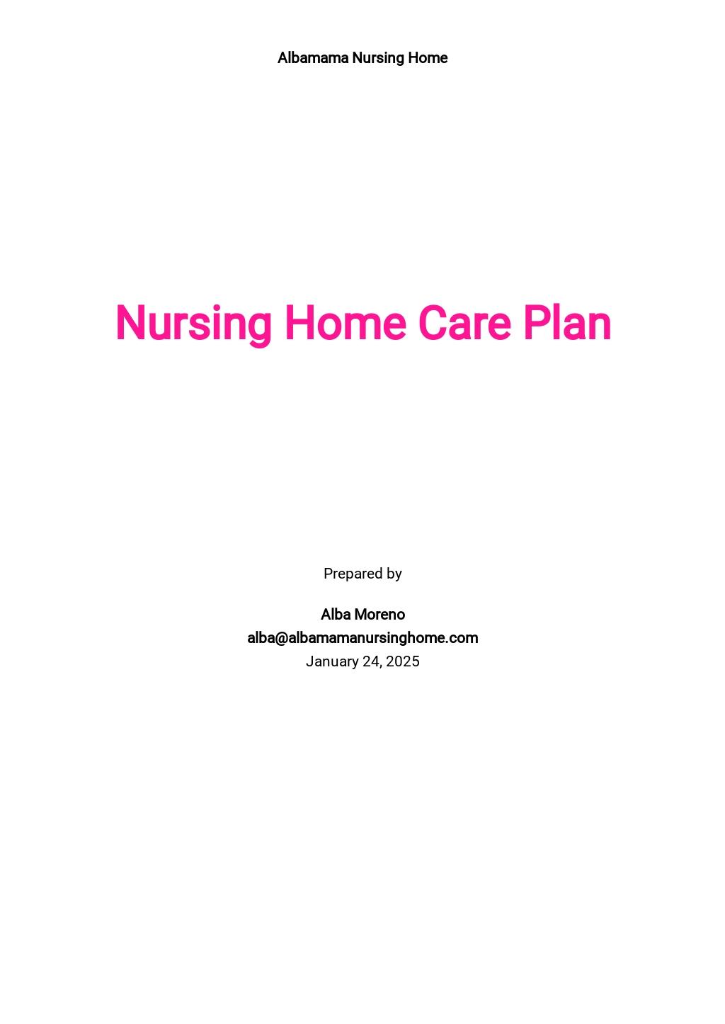 Nursing Home Care Plan Template