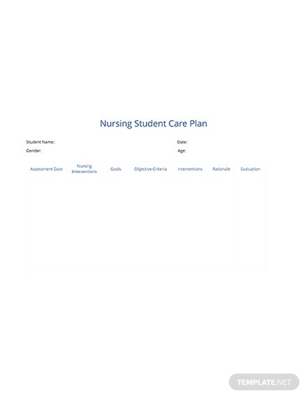 Free Nursing Student Care Plan Template