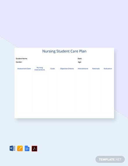 Free Nursing Student Care Plan Template