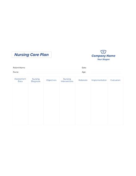 Free Printable Nursing care plan Template
