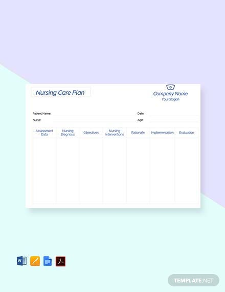 Free Printable Nursing care plan Template