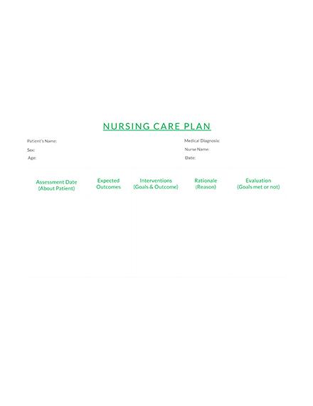 Simple Nursing Care Plan Template