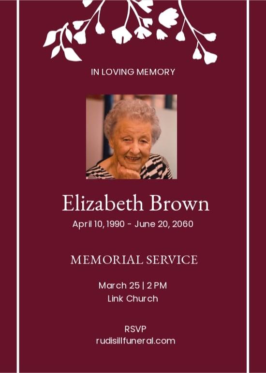 Simple Funeral Memorial Invitation Template.jpe