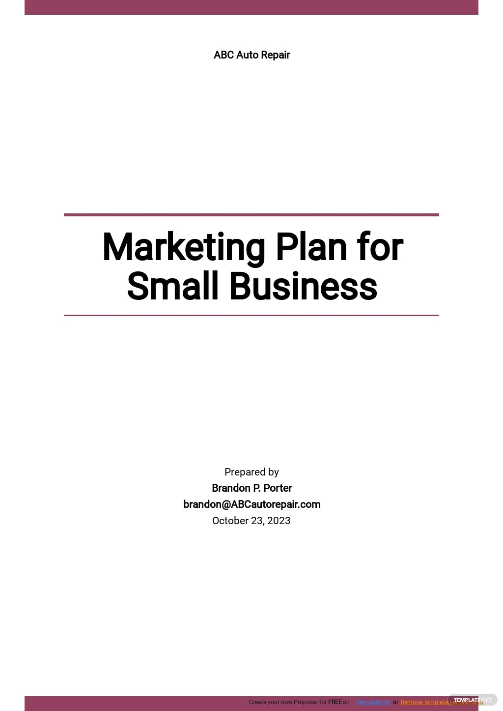 Simple Marketing Plan Template for Small Business.jpe