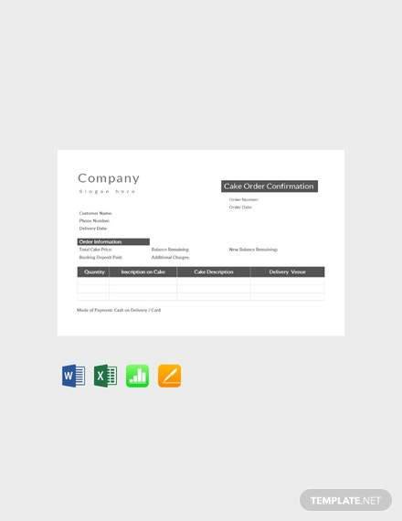 Free-Cake-Order-Confirmation-Template