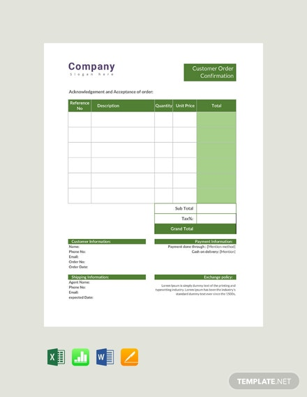 Free Customer Order Confirmation Template
