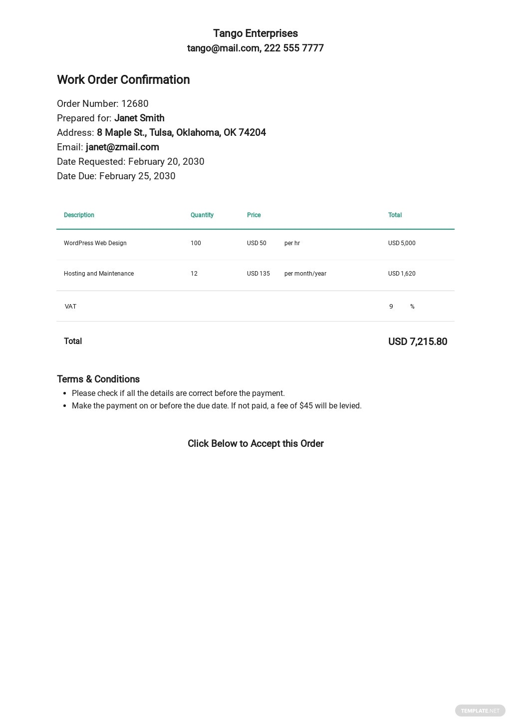 Free Work Order Confirmation Template.jpe