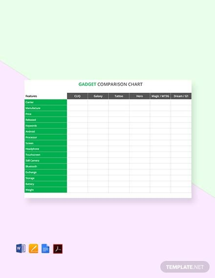 Free Gadget Comparison Chart Template